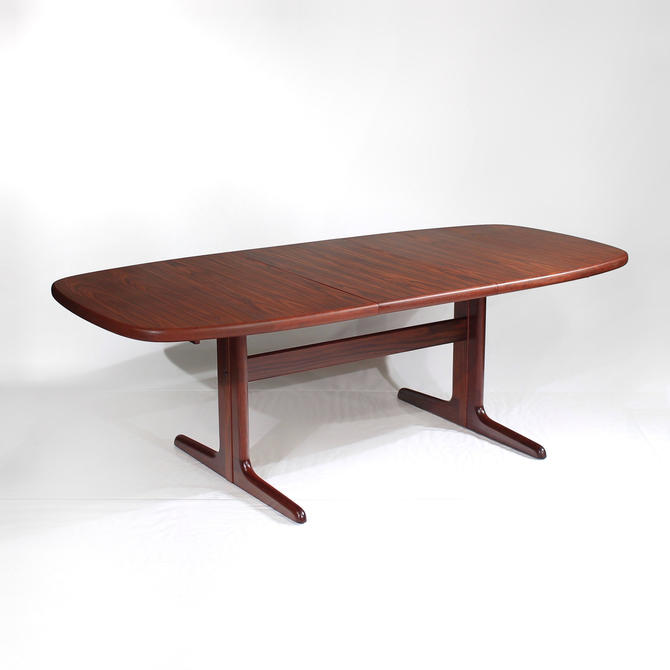 Mid Century Danish Rosewood Dining Table Elliptical with Extension Leaf by Skovby by ReVisionFurniture