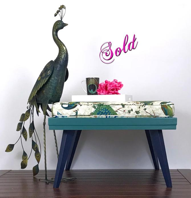 Mid century modern peacock coffee table/ottoman by RevitalizedStore