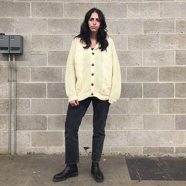 Vintage Sweater Retro 1960s Blarneys + Handloomed + Fisherman + Cardigan + 100% Wool + Ivory + Cream + Button down + Unisex Apparel by RetrospectVintage215