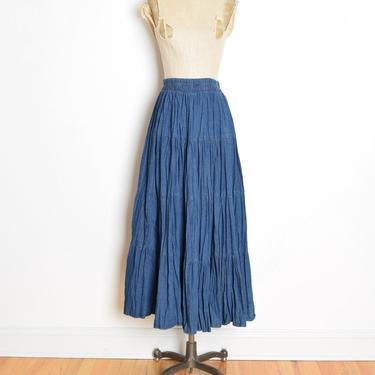 vintage 90s jean skirt denim full high waisted long maxi prairie skirt S M clothing tiered by huncamuncavintage