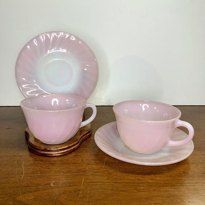 Vintage Anchor Hocking Fire King Pink Swirl Tea Cup and Saucer Pair by OverTheYearsFinds