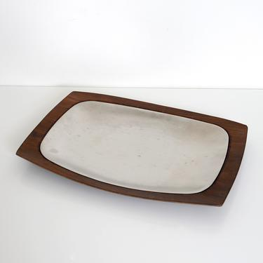 walnut and silver metal serving tray by fingerlickingvintage