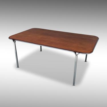 Walnut and Tubular Chrome Dining Table by Warren Snodgrass for Thonet - *Please ask for a shipping quote before you buy. by CoolCatVintagePA