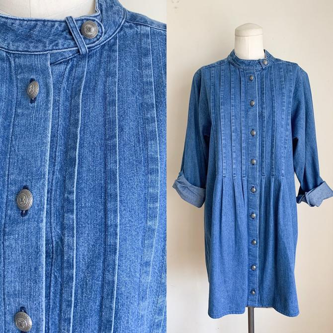 Vintage 1980s Pintuck Front Denim Dress / L-XL by MsTips