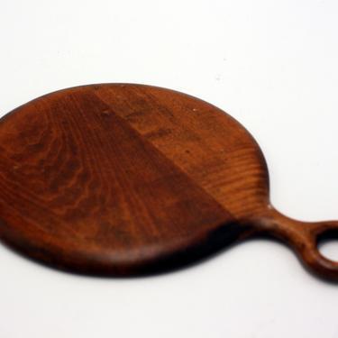 vintage round wood hand mirror by suesuegonzalas