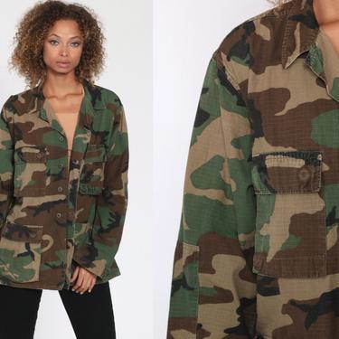 Army Camo Jacket 90s Army Shirt Camo Shirt USMC Shirt Camouflage Military Utility Commando Cargo Field Button Up Oversized 1990s Medium R by ShopExile