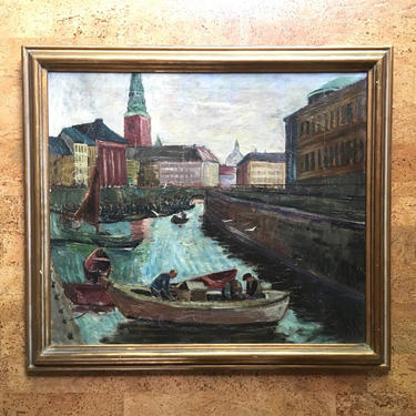 August Philipp Henneberger Copenhagen Dock Oil Painting, Listed German Artist by templeofvintage