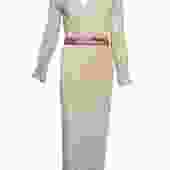 Mary Mcfadden Attribution Gown Peach Pleated Column with Belt