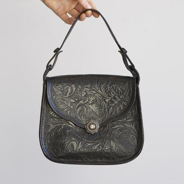 vintage antique black tooled leather bag by EELT