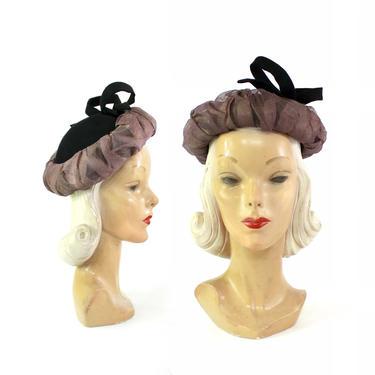 1940s Bumper Hat - 1940s Halo Hat - 1940s Bumper Tilt Hat - 1940s Womens Hat - 1940s Black Hat - 1940s Purple Hat - 1940s Hat by VeraciousVintageCo