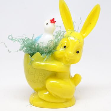 Vintage 1950's Rosbro Plastic Easter Rabbit Candy Container, Toy Bunny Holding Egg with Chicken & Grass, Happy Easter by exploremag