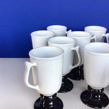 Vintage Hall Irish Coffee Pedestal Mugs in Black and White — MCM Restaurant-ware 1272 - Set of 4! by nauhaus