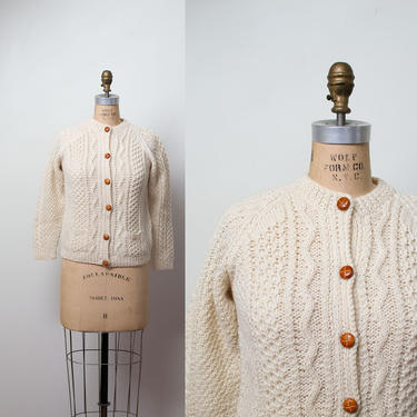1970s John Molloy Fishermans Sweater / 70s Cream Wool Cable Knit Cardigan by FemaleHysteria