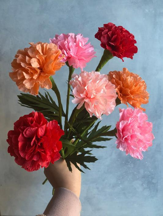 Crepe Paper Carnation -- Paper Flowers for Home Decor or Weddings by ReveryPaperFlora