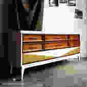 SAMPLE Mid Century Triple Dresser in White, Walnut, and Gold
