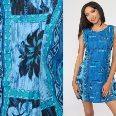 Blue Hawaiian Dress Floral Dress Tropical Mini 90s Surfer Tank Dress Surf Sundress 1990s Vintage Sleeveless Summer Shift Small S by ShopExile