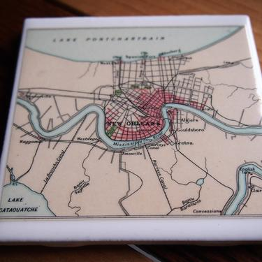 1922 New Orleans Louisiana Vintage City Map Coaster - Ceramic Tile - Repurposed 1920s Times Atlas - Lake Pontchartrain Mississippi River by allmappedout