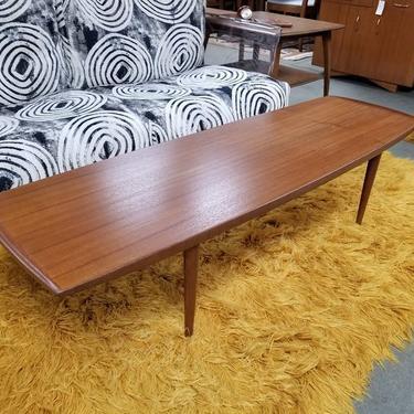 Danish Modern teak surfboard coffee table with curved edges