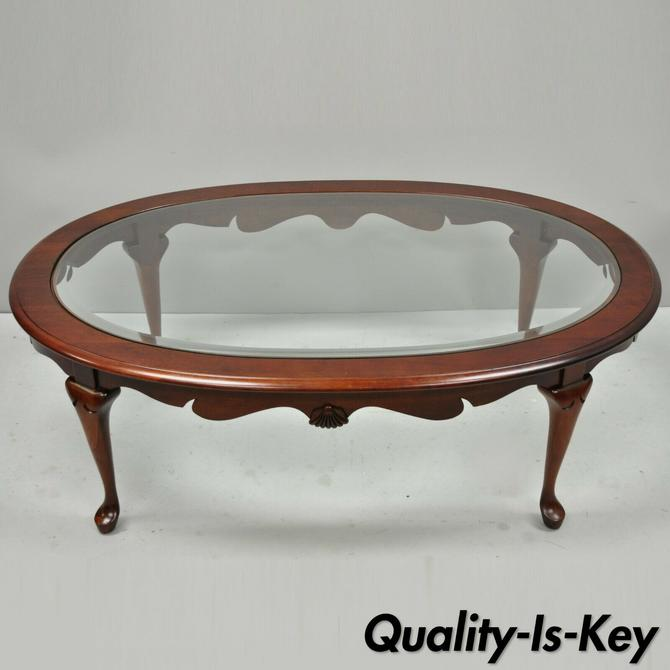 Pennsylvania House Cherry Wood Oval Beveled Glass Queen Anne Style Coffee Table