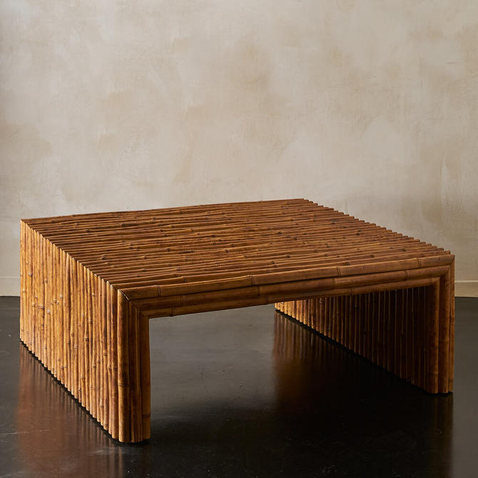 Large Square Vintage Bamboo Coffee Table