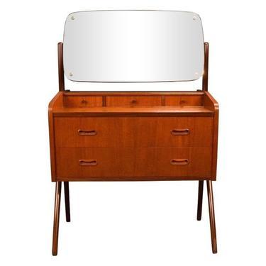 Vintage Mid Century Danish Modern Teak Vanity Dresser by AymerickModern