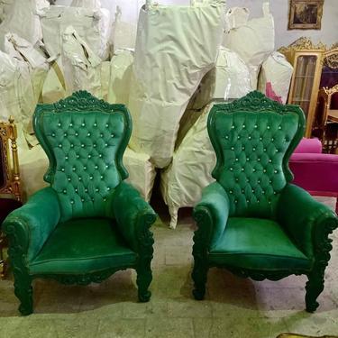 Green Children Throne Chair Green Velvet *2 LEFT* French Children Chair Throne Green Velvet Tufted Green Throne Chair Rococo Vintage Chair by SittinPrettyByMyleen