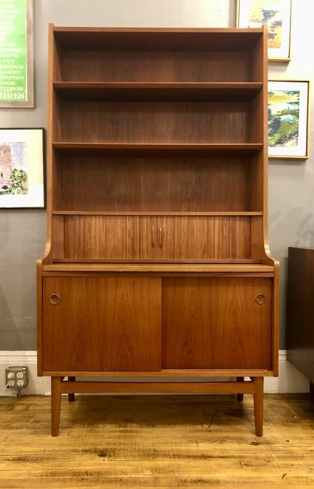 Danish Modern Teak Bookcase Secretary by Johannes Sorth, lots of great features. Pull out desk, tambour door, three petite drawers, letter bins, adjustable shelves. stamped…