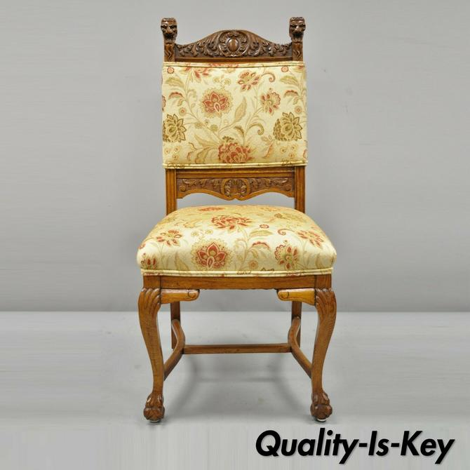 Antique Carved Oak Victorian Lion Head Renaissance Revival Dining Side Chair