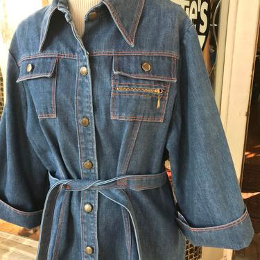 70's Women's denim Belted waist Blazer jacket~ large cuffs~ hard wear~ 1970's hippie Mom coat~ cinched waist~ hip huggers~ plus size vintage by HattiesVintagePDX