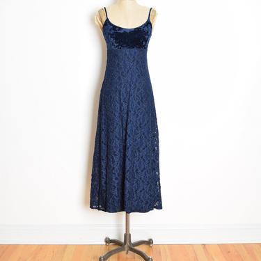vintage 90s dress BETSEY JOHNSON navy crushed velvet lace babydoll long maxi XS grunge clothing by huncamuncavintage