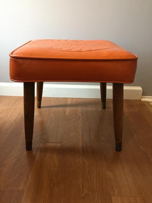 Petite Mid Century Ottoman Footstool orange by MadModWorldVintage