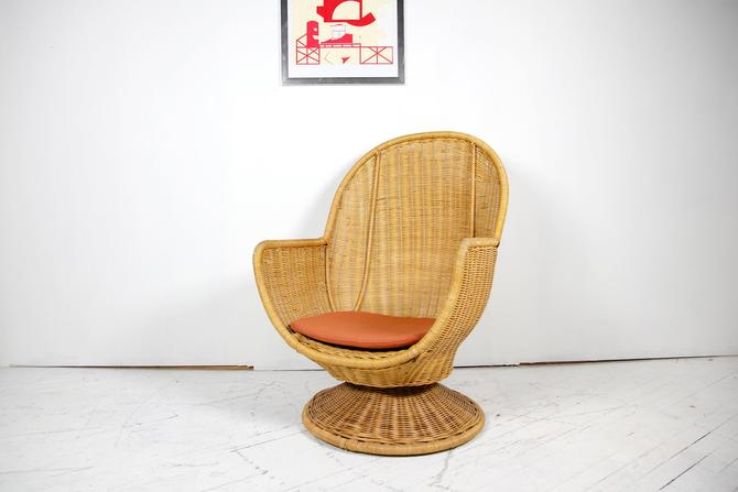 Vintage mcm rattan swivel armchair | Free delivery in NYC and Hudson areas by OmasaProjects