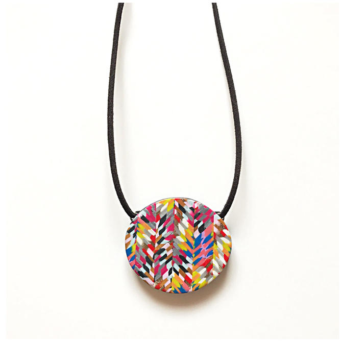 Multicolor feathered chevron pendant on suede - handmade with polymer clay by ChrisBergmanHandmade
