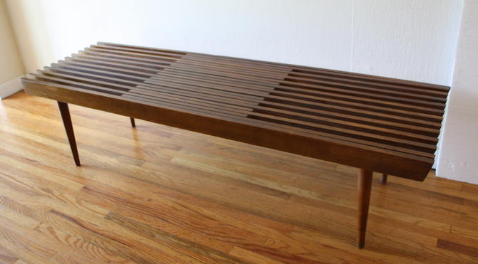 Mid Century Modern Slatted Extending Bench Coffee Table