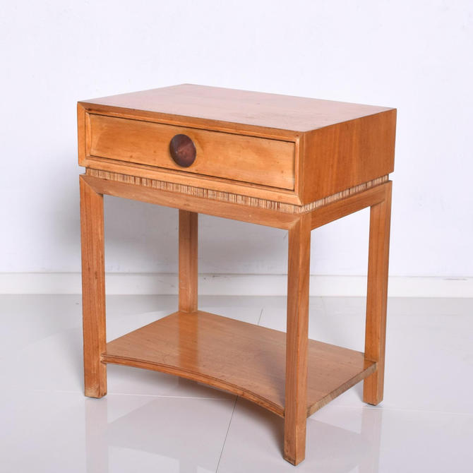 Mid Century Modern Paul Frankl Nightstand by Brown Saltman, Decorative End Table by AMBIANIC