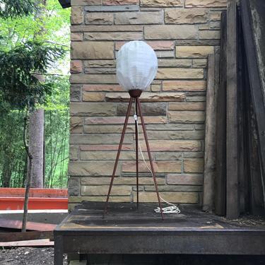 Vintage Rare Danish Teak Beehive Tripod Floor Lamp Mid-Century Mad Men Surveyors Lantern Bubble Light by BrainWashington