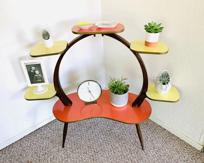 50s Tiered Plant Stand, Mid Century Indoor Planter, Formica Side Table, German Vintage Table, Side Table End Table, Atomic Table, Space Age by dadacat