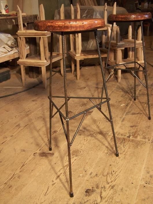 FREE SHIPPING Extra Tall Reclaimed Wood Industrial Style Factory Bar Stools with Rebar Metal Legs by BarnWoodFurniture