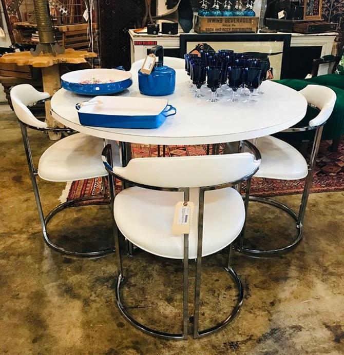 Formica and chrome table and chair set. $500