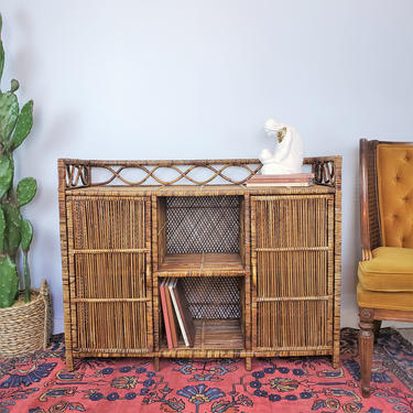 Vintage Boho Rattan Hutch with Cabinets | MCM Wicker Cube Shelf, Etagere, TV Stand, Console Table, Buffet, Credenza, Sideboard, Cupboards by SavageCactusCo