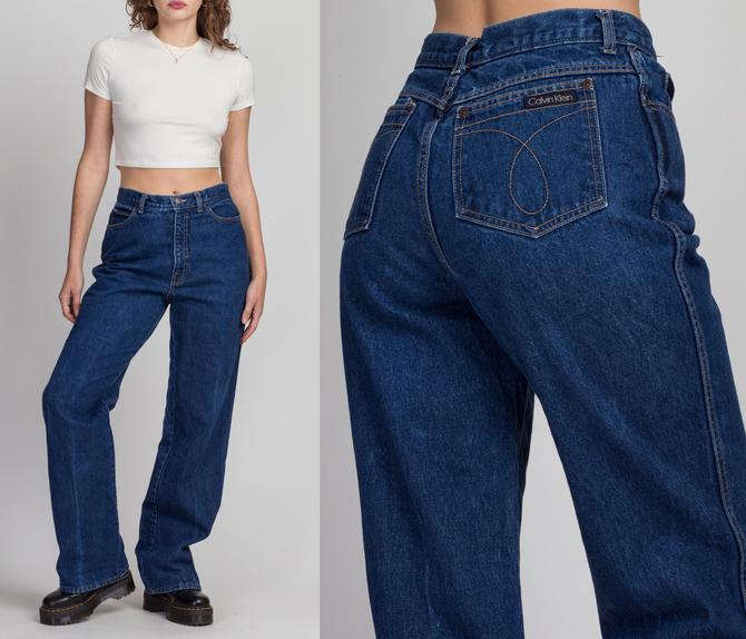 """Vintage Calvin Klein Dark Wash Dad Jeans - Medium, 29.5""""   90s High Waist Denim Straight Leg Jeans by FlyingAppleVintage"""