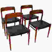 Set of 4 Danish Modern Teak Niels Moller #75 Dining Chairs