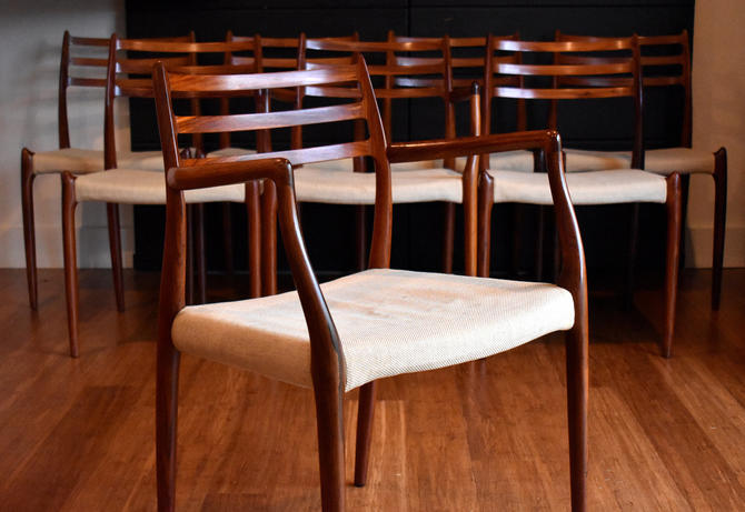 Eight brazilian rosewood Niels Moller 78/62 dining chairs (six armless, two captains) - custom upholstery available by MidCenturyClever