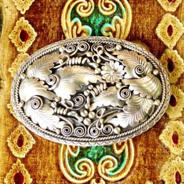 "Vintage Signed DL STERLING Navajo Sterling Silver Belt Buckle, Intricate Flora Fauna Designs, Hammered Silver Details, Old Pawn, 3 1/2"" W by shopGoodsVintage"