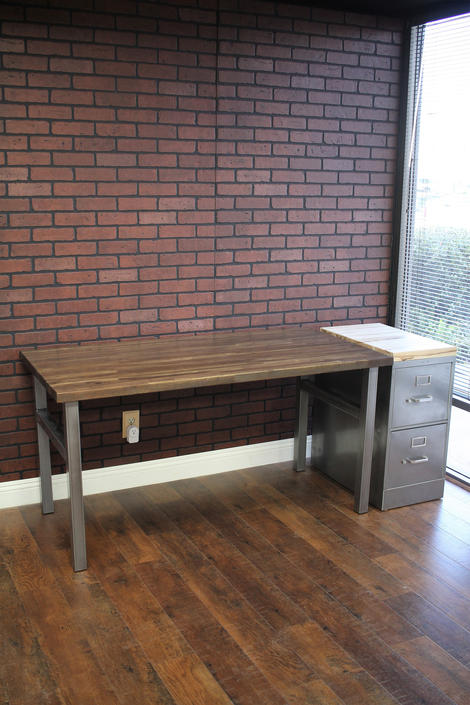 Modern Desk / Steel and Wood / industrial / urban furniture / rustic office furniture / butcher block desk / rustic desk by TheRusticForest