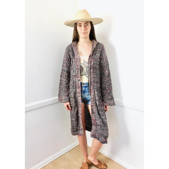 Space Dye Cardigan Sweater // vintage 70s knit hippie dress blouse hippy 1970s tunic space dye black white // S/M by FenixVintage