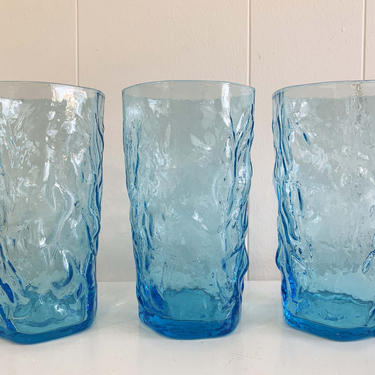 Vintage Ice Blue Anchor Hocking Lido Milano Crinkle Glass Iced Tea Glasses Set of Three Turquoise Glass Aqua Textured Pattern Highball 1960s by CheckEngineVintage