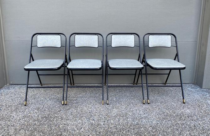 Set of 4 Mid Century Folding Metal Chairs Samsonite by DesertCactusVintage