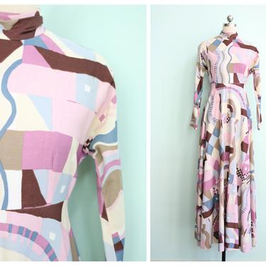 Vintage 1970's Pastel Abstract Maxi Dress | Size Small by TroveVintageShop