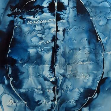 An Oft-Told Story: Original ink painting on yupo of brain - neuroscience art literature Karen Joy Fowler by artologica